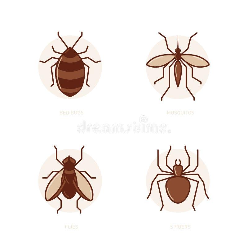 Insetti di letto zanzare mosche ragni illustrazione - Insetti da letto ...