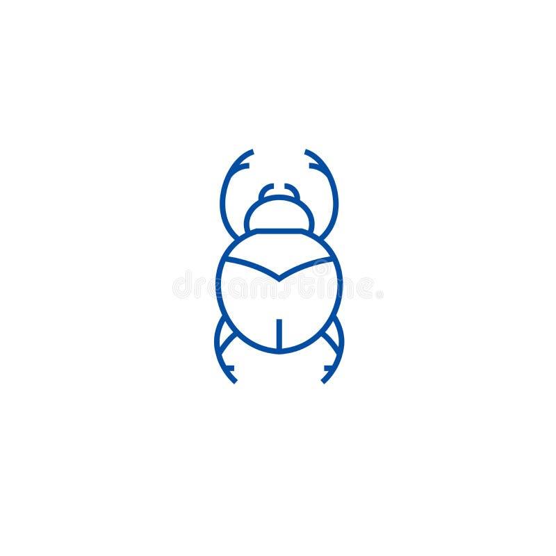 Insetti, linea concetto del segno dell'egitto dell'icona Insetti, simbolo piano di vettore del segno dell'egitto, segno, illustra illustrazione di stock