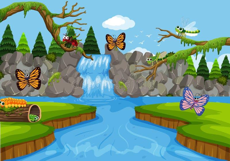 Insetti nella scena della cascata illustrazione di stock