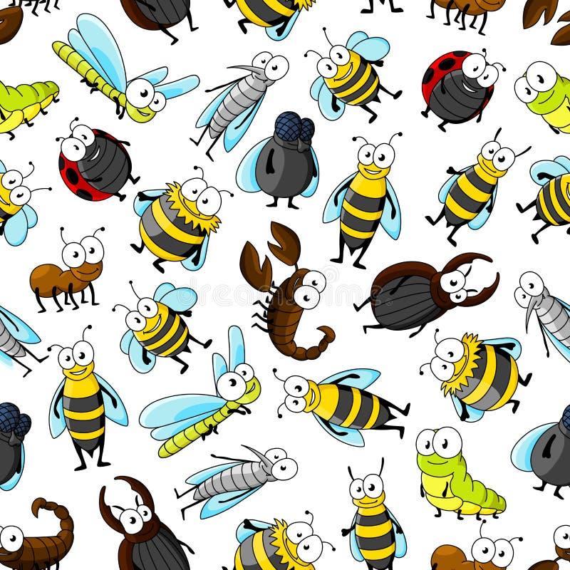 Insetti svegli del fumetto e carta da parati senza cuciture degli insetti illustrazione di stock