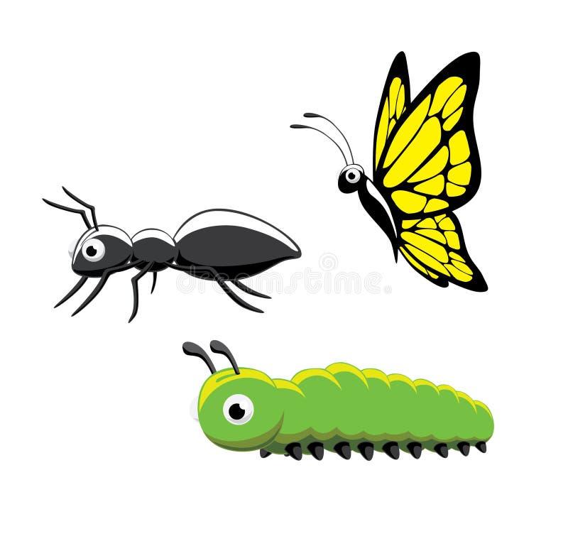 Insetto Ant Caterpillar Butterfly Vector Illustration immagine stock libera da diritti