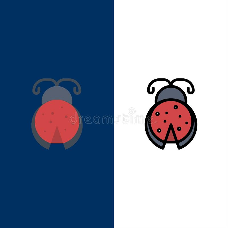 Insetto, insetto, coccinella, icone della primavera Il piano e la linea icona riempita hanno messo il fondo blu di vettore illustrazione vettoriale