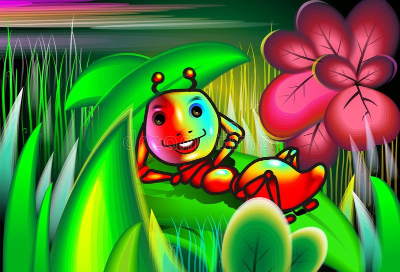 Insetto con i fiori charming di umore in mezzo a royalty illustrazione gratis
