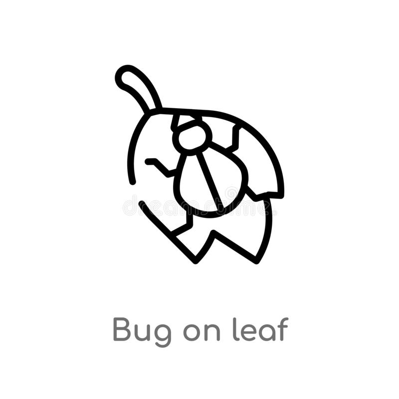 insetto del profilo sull'icona di vettore della foglia linea semplice nera isolata illustrazione dell'elemento dal concetto degli royalty illustrazione gratis