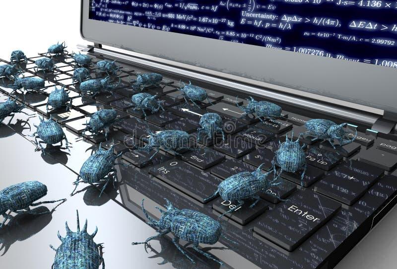 Insetto elettronico di concetto di sicurezza di Digital sulla tastiera di computer royalty illustrazione gratis