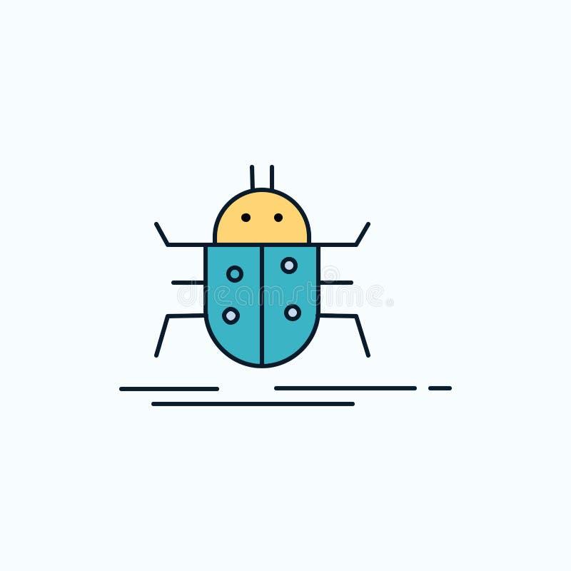 Insetto, insetti, insetto, prova, icona piana del virus segno e simboli verdi e gialli per il sito Web e il appliation mobile Vet illustrazione vettoriale