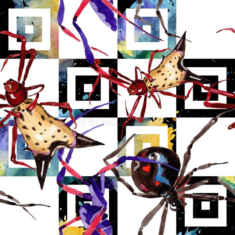 Insetto selvaggio dei ragni esotici in uno stile dell'acquerello Modello senza cuciture del fondo illustrazione di stock