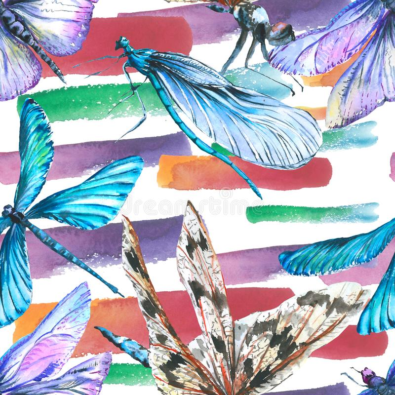Insetto selvaggio della libellula esotica Insieme dell'illustrazione del fondo dell'acquerello Modello senza cuciture del fondo illustrazione di stock