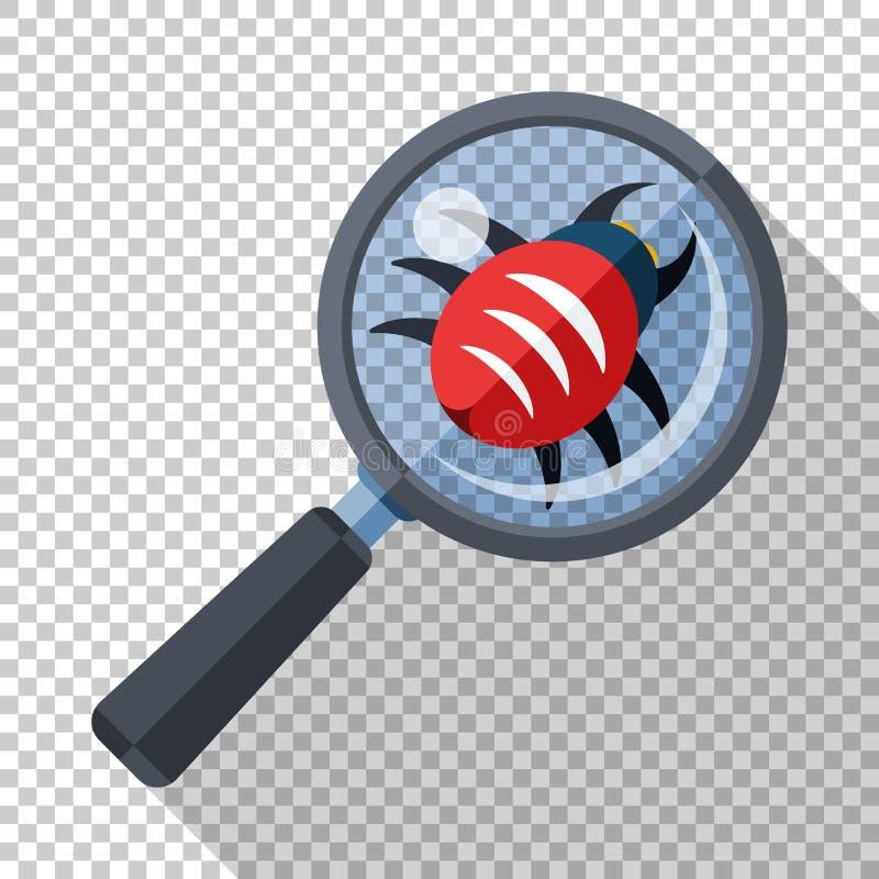 Insetto sotto una lente d'ingrandimento Concetto dell'icona di esame di antivirus nello stile piano su fondo trasparente royalty illustrazione gratis