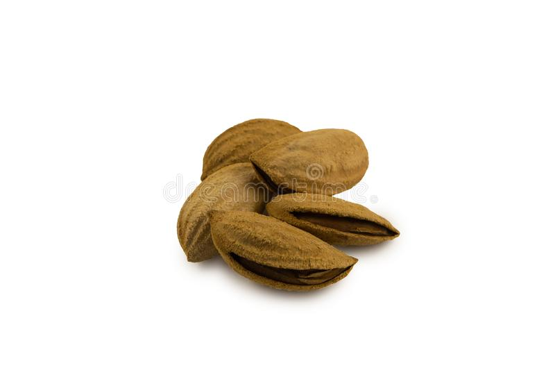 Inshell almonds. On a white backdround stock image