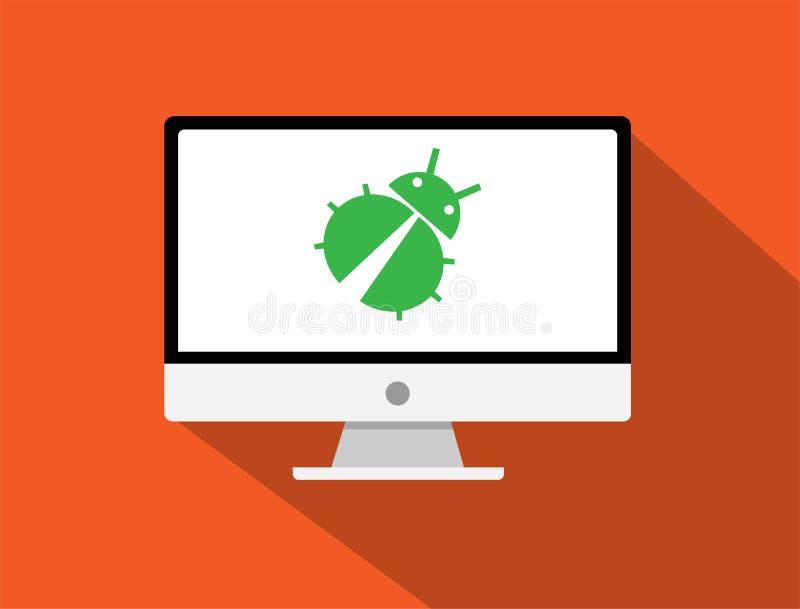 Insicurezza e insetto sul computer nello stile piano d'avanguardia isolato sopra illustrazione di stock