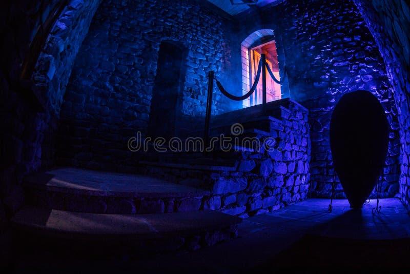 Insida av den gamla kusliga övergav herrgården Trappuppgång och kolonnad Mörk slotttrappa till källaren Spöklik fängelsehålastent royaltyfri foto