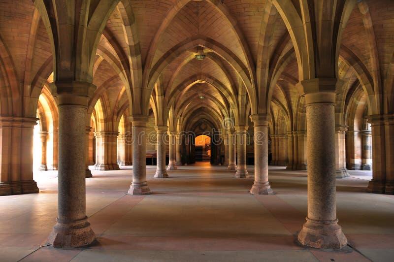 Insida för byggnad för Glasgow universitetar huvudsaklig arkivfoton