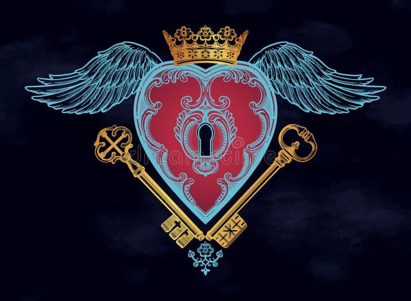 Insida för nyckel- hål för mystiker i hjärtan vektor illustrationer