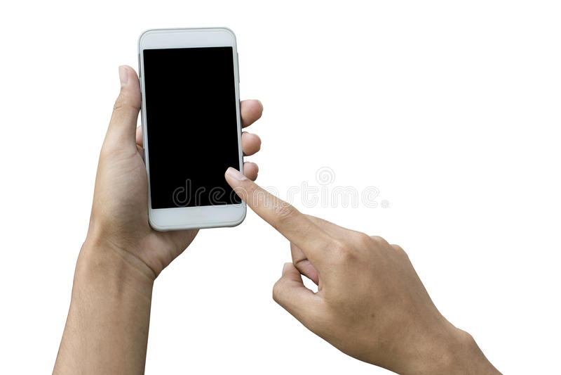 Insida för urklipp för svart för handinnehavtelefon som isoleras på vit bakgrund royaltyfri fotografi