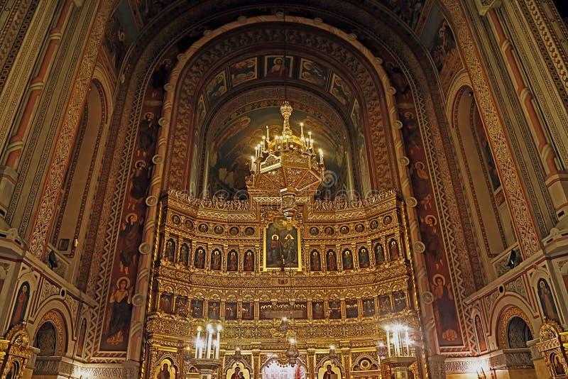 Insida i Timisoara den ortodoxa domkyrkan 2 arkivbild