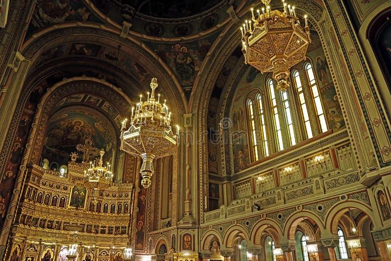 Insida i Timisoara den ortodoxa domkyrkan 5 arkivbild