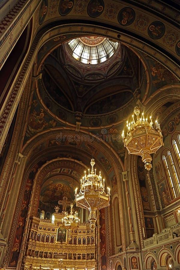 Insida i Timisoara den ortodoxa domkyrkan 4 arkivfoto