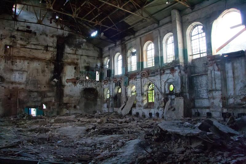 Inside abandoned and destroyed sugar factory in Ramon stock photos