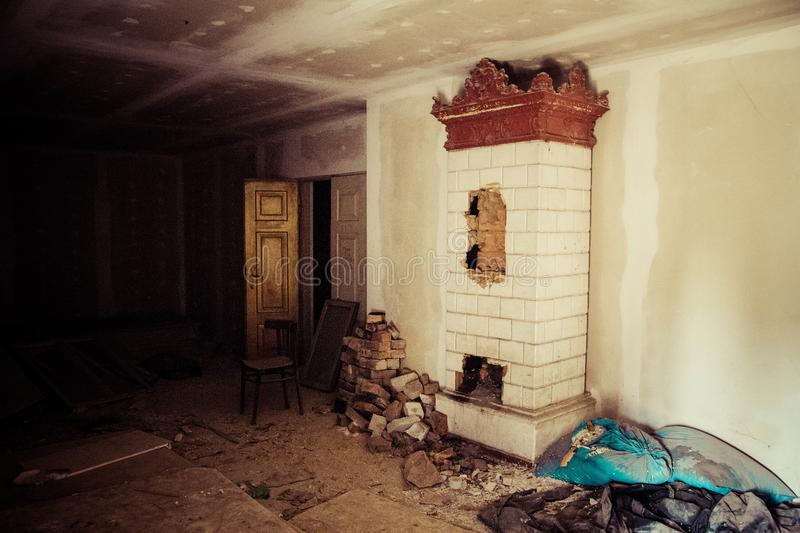The inside of an abandoned house stock photo