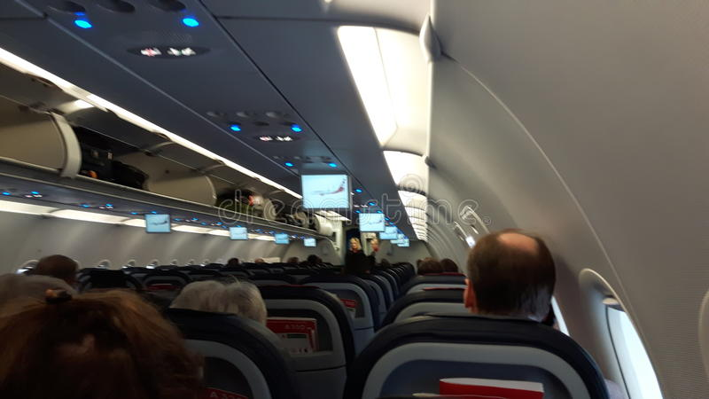Inside an a320 of air Berlin Airplane Cabin stock photo