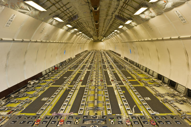 Inside air cargo freighter stock photo