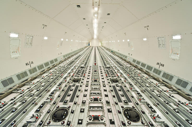 Inside air cargo freighter royalty free stock photo