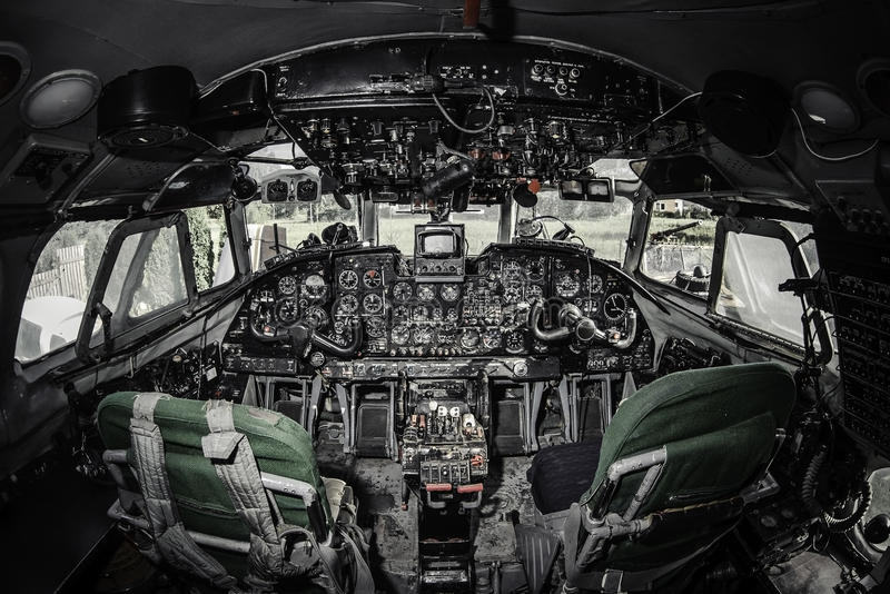 Inside of airplane cockpit. Inside of empty airplane cockpit royalty free illustration