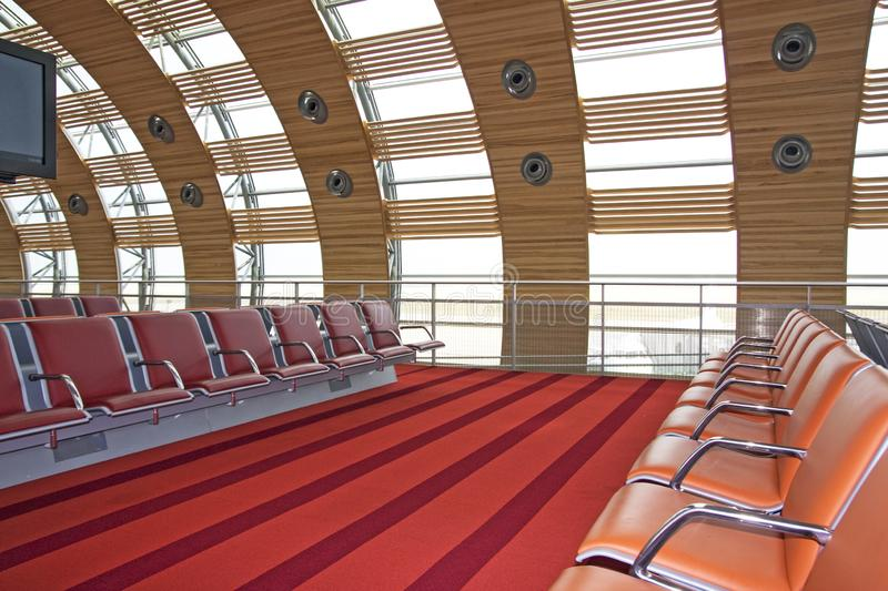 Charles de Gaule Airport. Inside the airport you have access to various accommodations, a place to rest while waiting for your flight stock photography