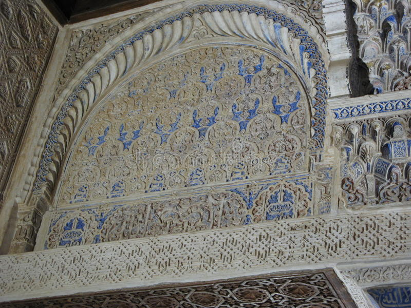 Inside the alhambra palace royalty free stock photos