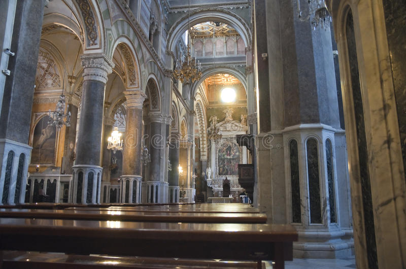 Inside Altamura Cathedral. Perspective of Inside Altamura Cathedral royalty free stock photos
