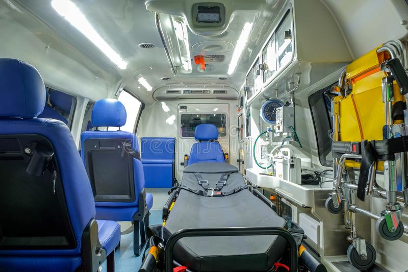 Inside an ambulance car with medical equipment. For helping patients before delivery to the hospital royalty free stock photography