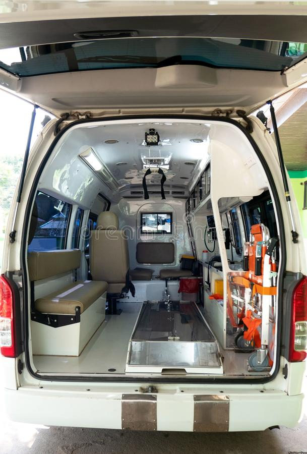 Inside an ambulance with medical equipment . Car for patient refer.  royalty free stock photos