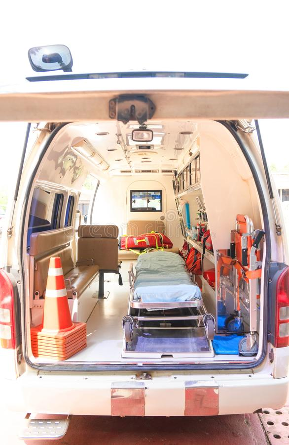 Inside an ambulance with medical equipment . Car for patient refer.  stock photography