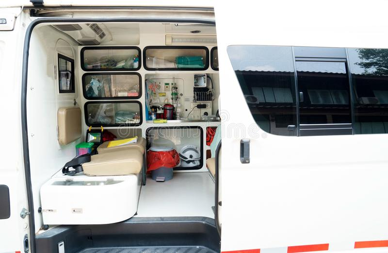 Inside an ambulance with medical equipment . Car for patient refer. Ine an ambulance with medical equipment . Car for patient refer royalty free stock images