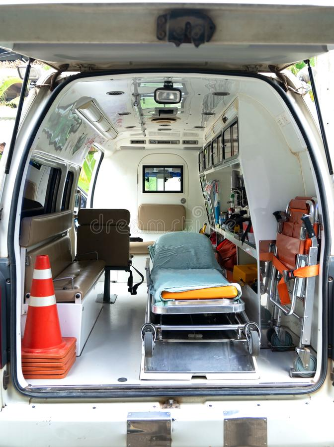 Inside an ambulance with medical equipment . Car for patient refer. Ine an ambulance with medical equipment . Car for patient refer stock image