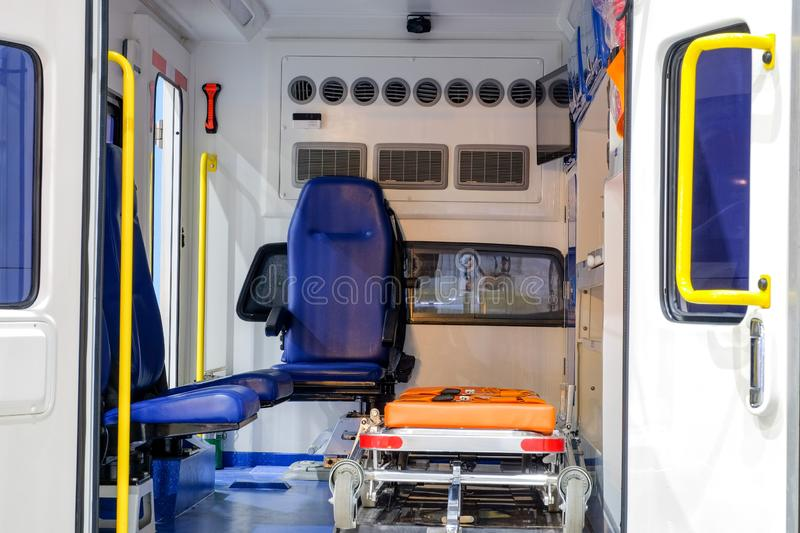 Inside an ambulance with medical equipment for helping. Patients before delivery to the hospital royalty free stock images