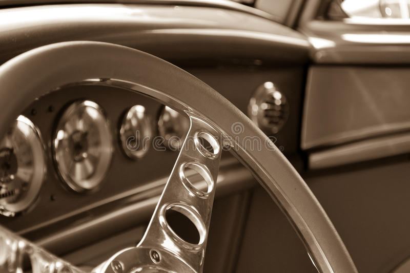 Inside of an Antique Car stock photo