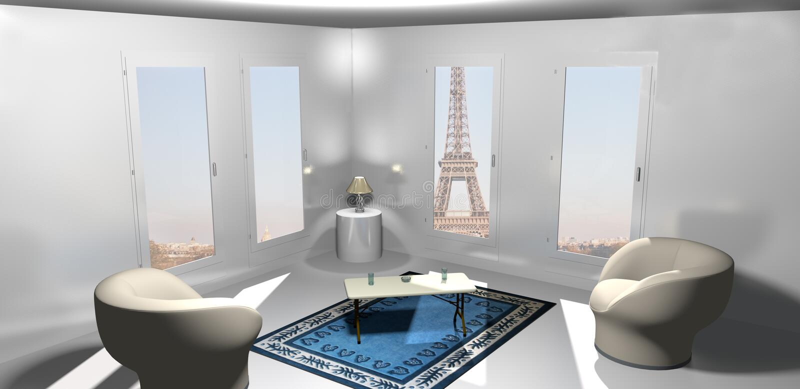 Inside an apartment in Paris vector illustration