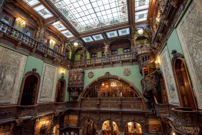 Inside architectural detail of Peles Castle from Romania, also known as Royal Palace stock photography