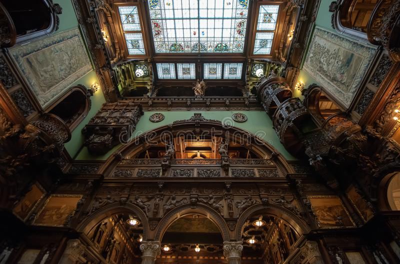 Inside architectural detail of Peles Castle from Romania, also known as Royal Palace. Inside architectural detail of Peles Castel from Romania, also known as royalty free stock image
