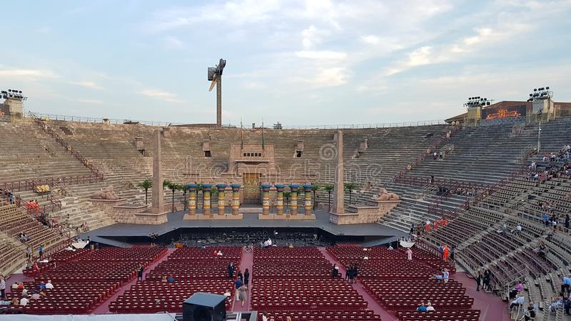Inside the Arena di Verona, the second largest roman amphitheater in the world and famous for its opera performances. Verona, Italy - August 16 2017: Inside the royalty free stock photos