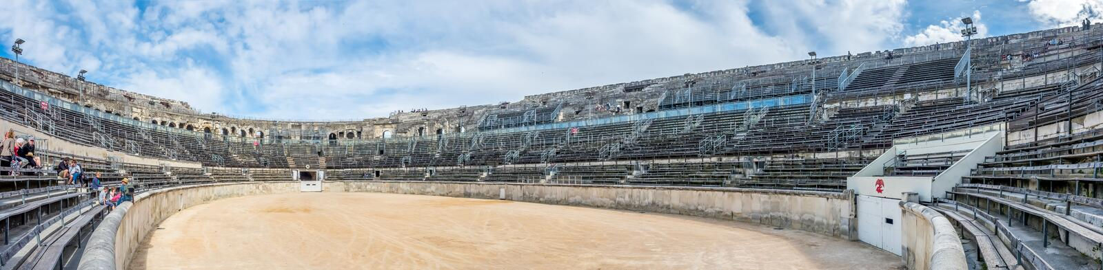 Inside of Arena of Nimes, France stock photography