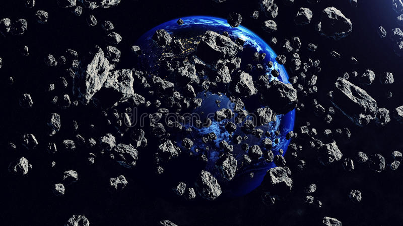 Inside the Asteroid belt seen against the Earth royalty free illustration