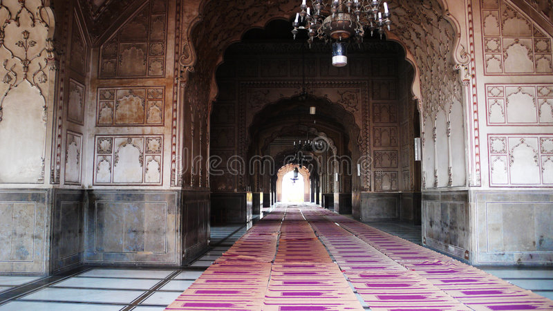 Inside of The Badshahi Mosque royalty free stock photo