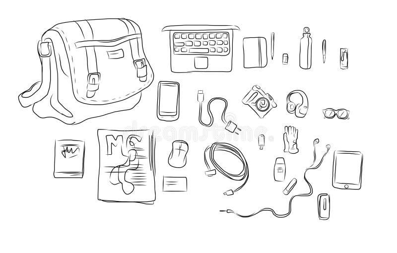 inside bag hand drawing illustration stock image
