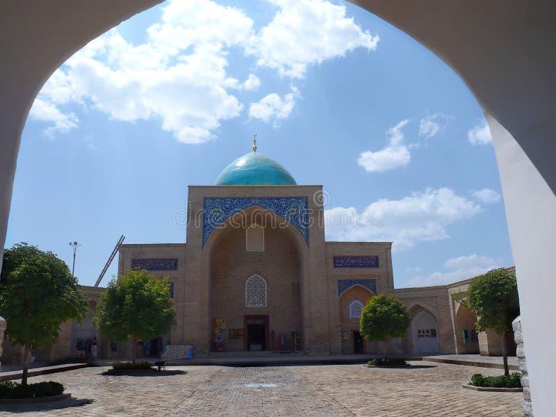 Inside Barak-Khan Madrasah in Tashkent, Uzbekistan. Classic shapes of an uzbek Madrasah old arabic traditional shcool where students learn and live. Beautiful stock photo