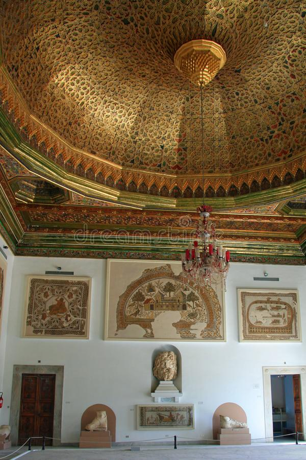 Inside the Bardo Museum. The Bardo National Museum is a museum of Tunis, Tunisia, located in the suburbs of Le Bardo. It is one of the most important museums in royalty free stock image