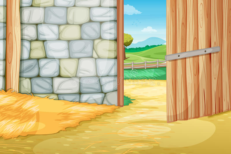 Inside the barn stock illustration