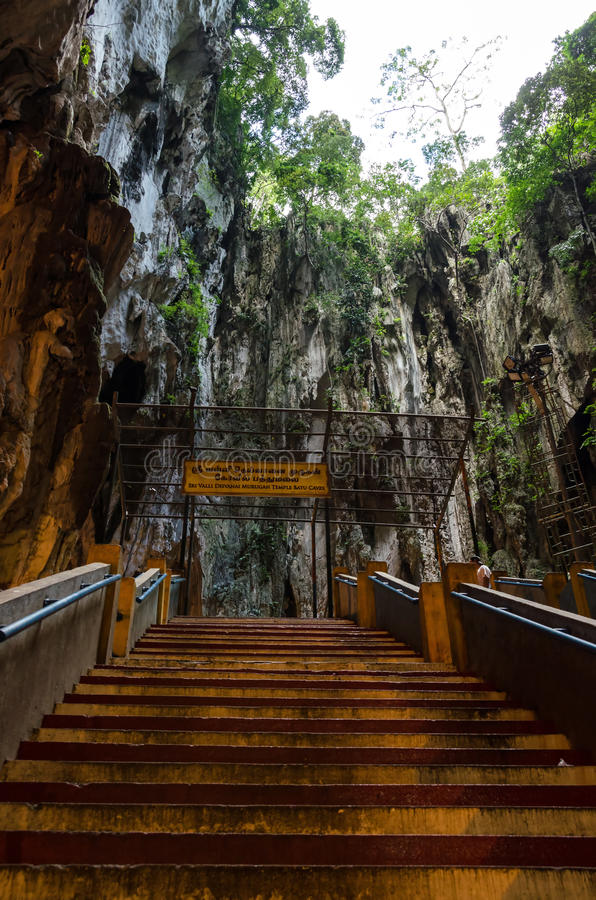 Inside of Batu Caves, Malaysia. Batu Caves - a complex of cave hills and Hindu shrines at a distance of 13 km from the center of Kuala Lumpur stock photo